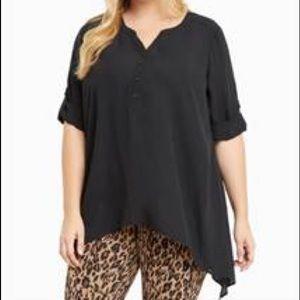 Black shark-bite chiffon blouse